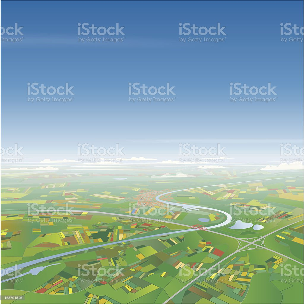 Aerial View on Landscape vector art illustration