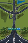 Aerial View - Top View Roads Intersections, Highways.