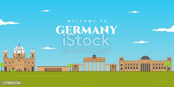 Aerial wonderful panoramic landscape of Germany. Famous UNESCO world culture heritage site, popular travel destination. Brandenburg Gate, Reichstag Building, Berlin Wall Memorial and Berlin Cathedral