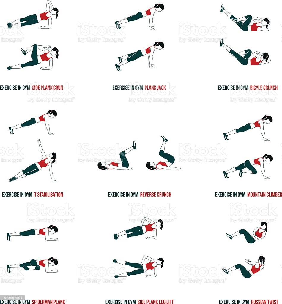 Aerobic and workout icons vector art illustration