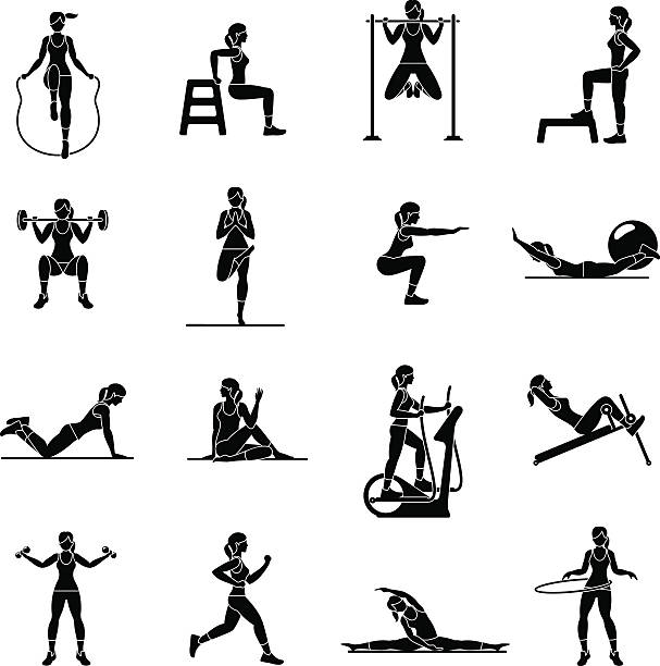Aerobic icons. 4x4. black vector art illustration