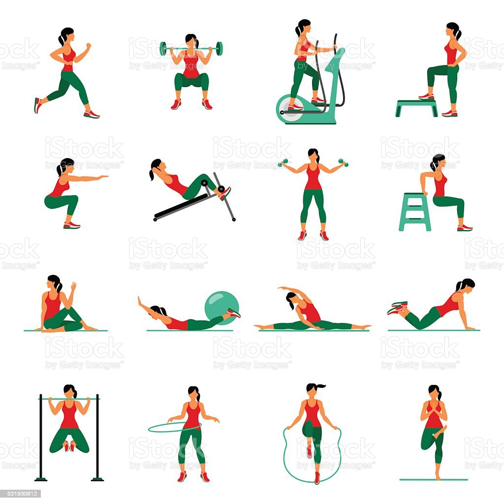 Aerobic icons. 4x4. full color vector art illustration