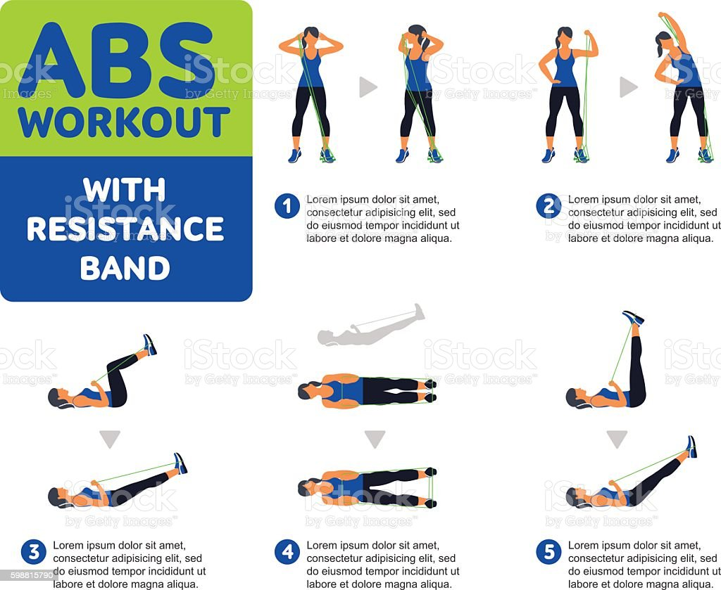 Aerobic icons. Abs workout vector art illustration