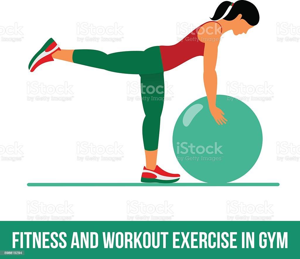 Aerobic icons. Ball exercise vector art illustration