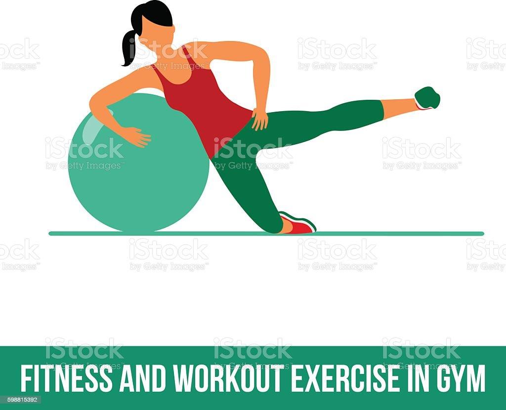 Aerobic icons. Ball exercise – Vektorgrafik