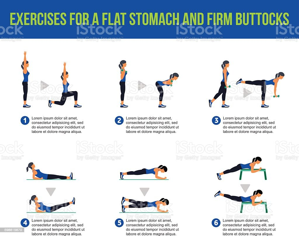 Aerobic icons. buttocks workout – Vektorgrafik
