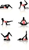 Vector illustration of girl's silhouettes in aerobic poses.