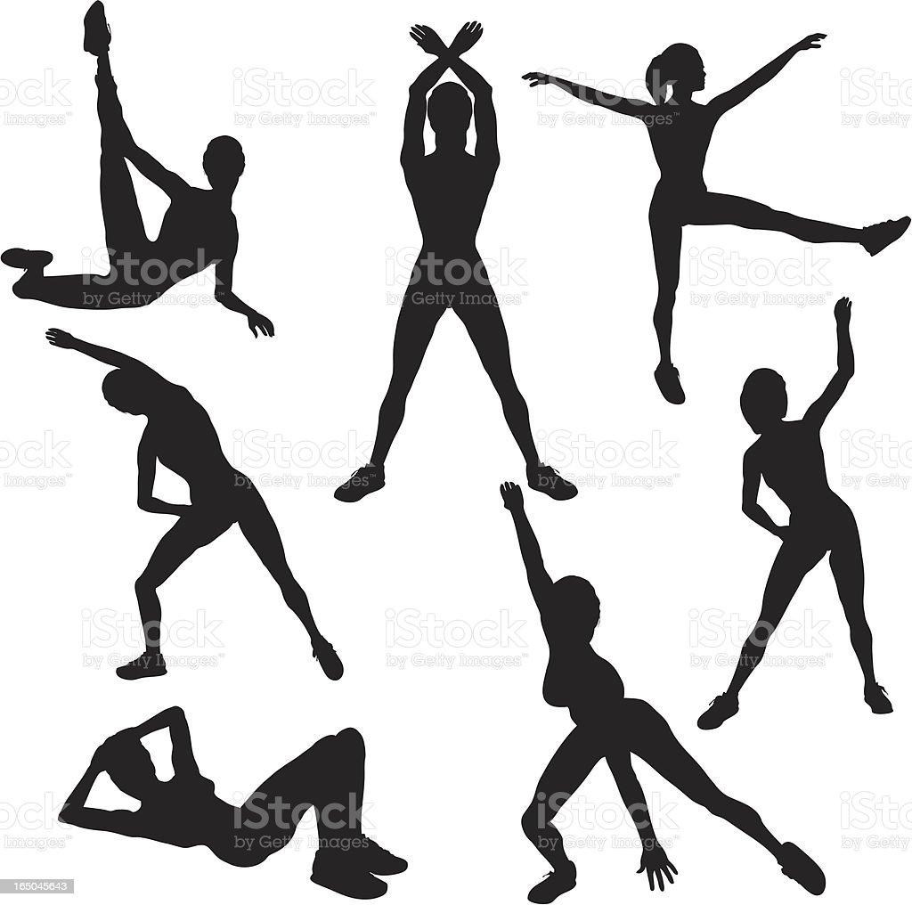 Aerobics Silhouette Collection vector art illustration