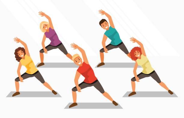 ilustrações, clipart, desenhos animados e ícones de aeróbica. ilustração vetorial - personal trainer