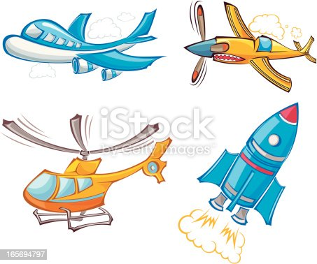 illustration of four cartoon aerocrafts. eps8,ai8,jpg format are available.