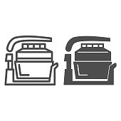 istock Aerogrill line and solid icon, Kitchen appliances concept, Kitchenware sign on white background, Electric home grill icon in outline style for mobile concept and web design. Vector graphics. 1256466357