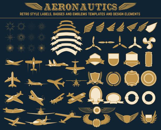 aeronautics labels templates set Aeronautics retro style labels, badges and emblems templates and design elements. aviation and environment summit stock illustrations