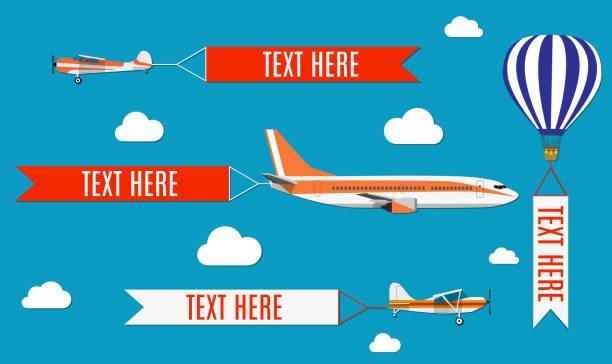 Aeroplane, planes, biplane and hot air balloon. vector art illustration