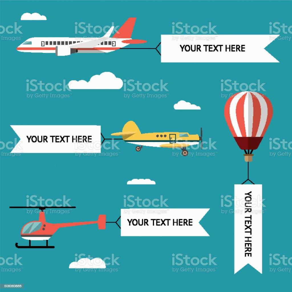 Ilustración de Avión Aviones Helicópteros Biplano Y Globo ...