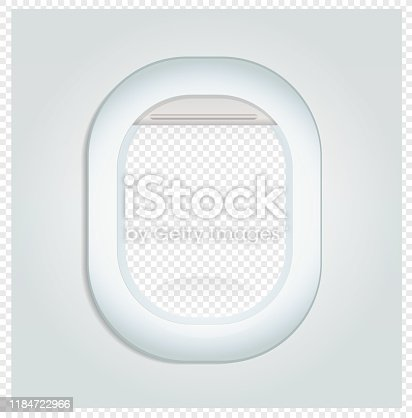 Aeroplane Porthole glass see through window blank scene on transparency grid