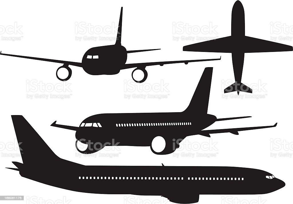 Aeroplane silhouettes vector art illustration