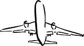Aeroplane takeoff sketch