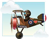 Vector cartoon illustration of the British WWI fighter biplane Vickers flying.