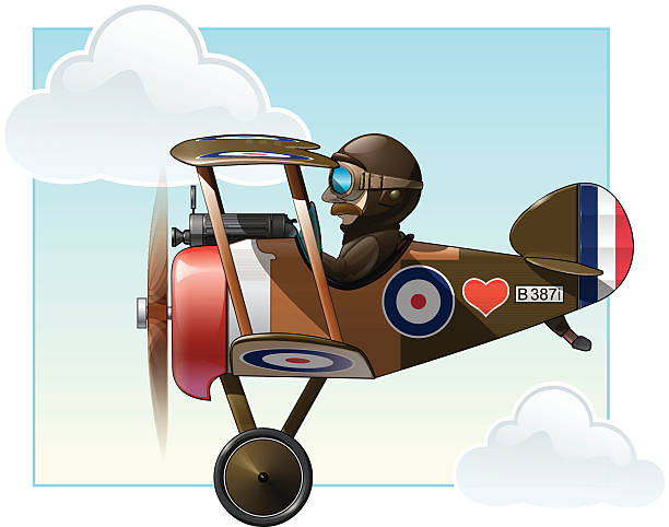 WW1 Aeroplane Toys - Vickers Vector cartoon illustration of the British WWI fighter biplane Vickers flying. aviation and environment summit stock illustrations