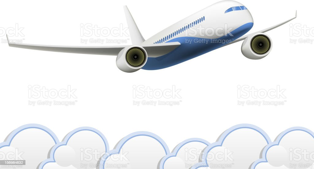 Aeroplane with clouds royalty-free aeroplane with clouds stock vector art & more images of air vehicle