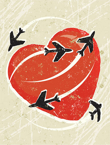 aeroplanes flying around a heart - travel agent stock illustrations, clip art, cartoons, & icons