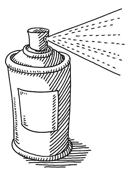 spraydose sprühen zeichnung - haarsprays stock-grafiken, -clipart, -cartoons und -symbole
