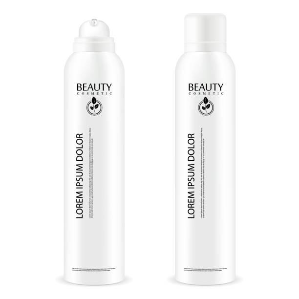 aerosol spray-metall-flasche mit deckel. deodorant antitranspirant oder kosmetische haarspray kann vorlage. vektorgrafik-paket isoliert auf weißem hintergrund. - haarsprays stock-grafiken, -clipart, -cartoons und -symbole