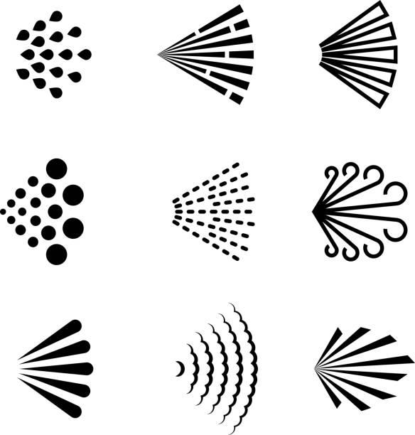 Aerosol spray vector black icons Aerosol spray vector black icons. Illustration of spray deodorant effect, hairspray direction scented stock illustrations