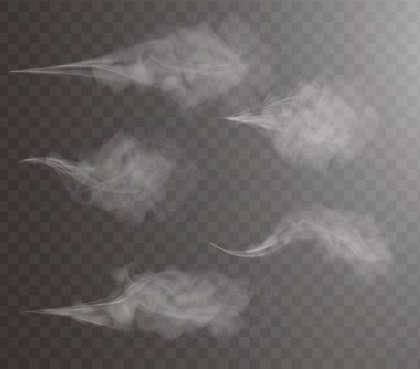 aerosol water spray, cosmetic vial pulverizer white smoke design, drops, dust and dots cloud, atomizer mist. fog vector effect, 3d illustration. insecticide particles. boiling kettle steam transparent - туман stock illustrations