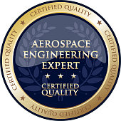 Aerospace engineering expert certified quality gold round label with a laurel wreath.