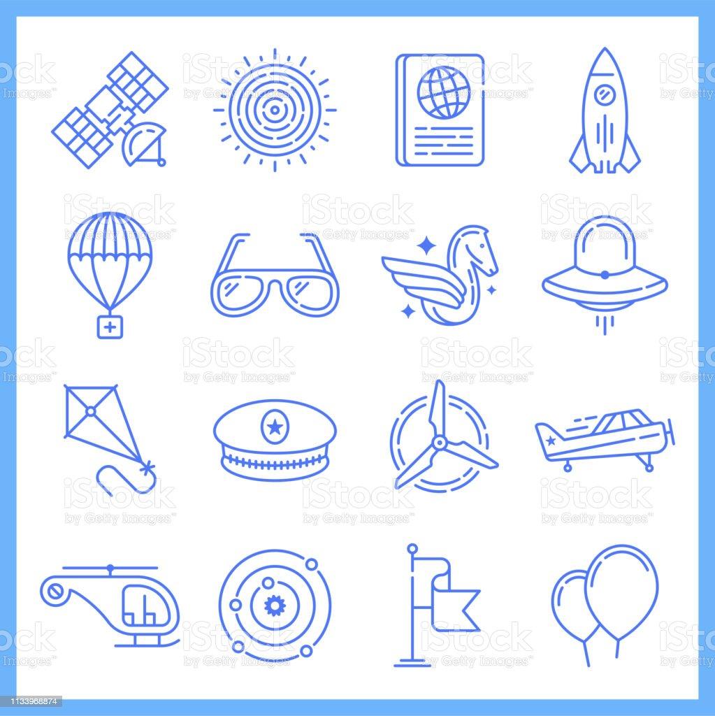 Modern aerospace industry blueprint style concept outline symbols....