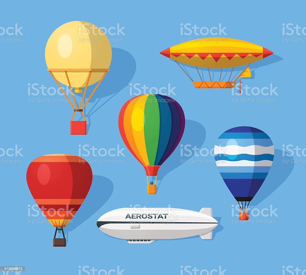Aerostat flat icons vector art illustration