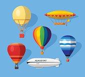 Aerostat flat icons