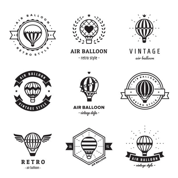 Aerostat (air balloon) hipster and vintage logo set. Aerostat (air balloon) hipster and vintage logo set. Clean and simple design. hot air balloon stock illustrations
