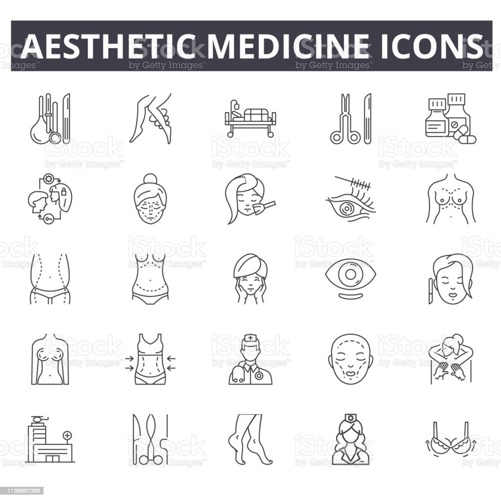 Aesthetic Medicine Line Icons Editable Stroke Concept