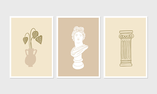 Aesthetic posters or greeting cards with minimalist illustrations.