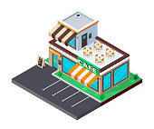 Сafe isometric building. Coffee shop with parking. Flat isometric icon. Welcome to café. Vector illustration