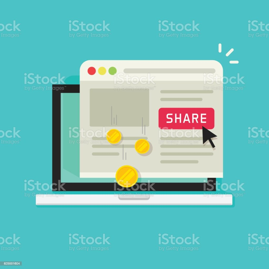 Affiliate marketing concept vector illustration, flat cartoon laptop computer with share button and money earning from sharing on social media, affiliate program vector art illustration