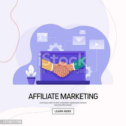 Affiliate Marketing Concept Vector Illustration for Website Banner, Advertisement and Marketing Material, Online Advertising, Business Presentation etc.