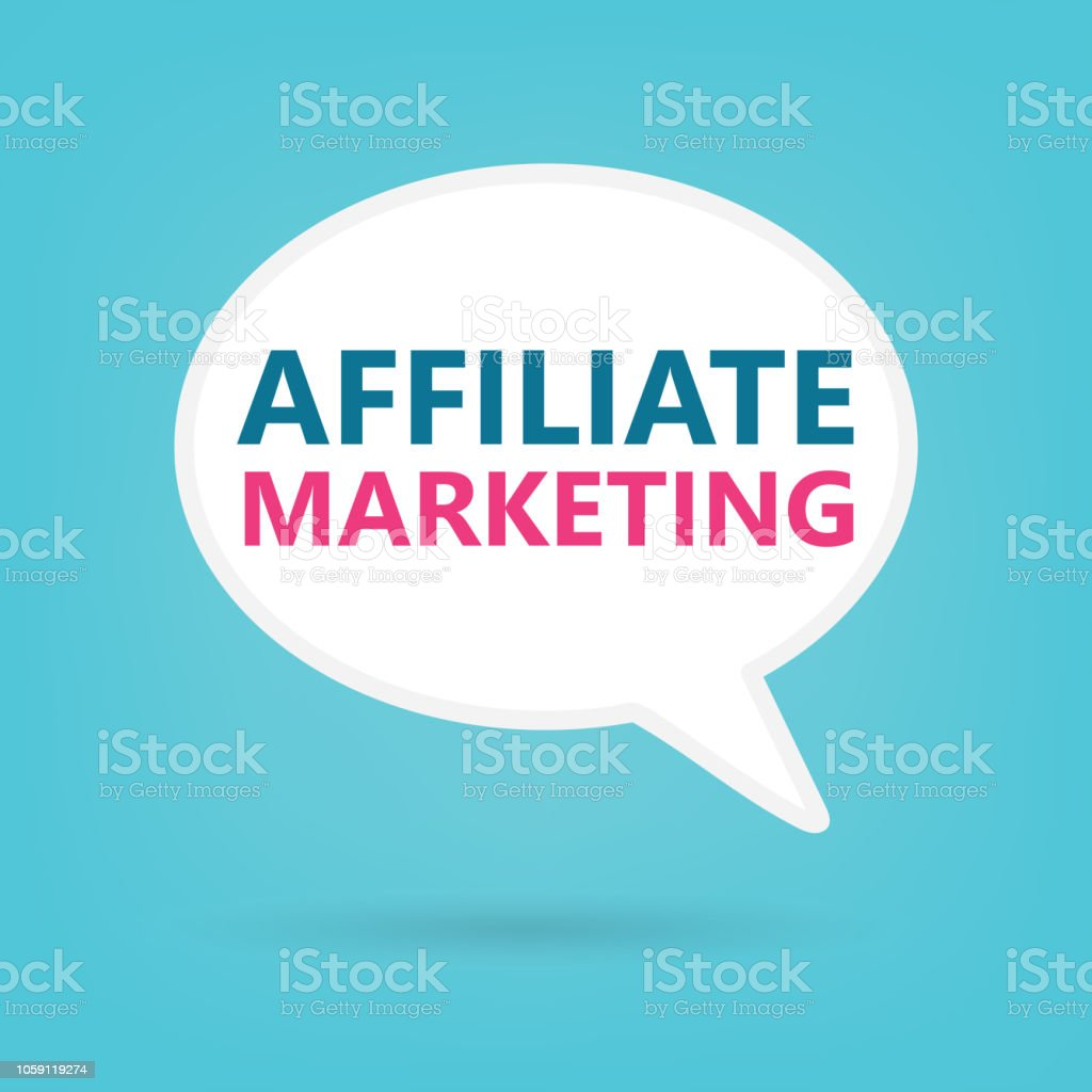 affiliate marketing on a speech bubble vector art illustration