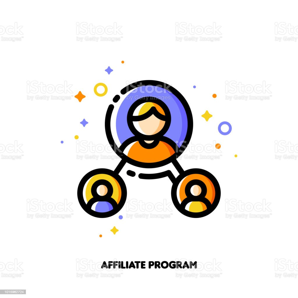Affiliate marketing, partner program or referrals network concept. Icon with group of people. Flat filled outline style. Pixel perfect 64x64. Editable stroke vector art illustration