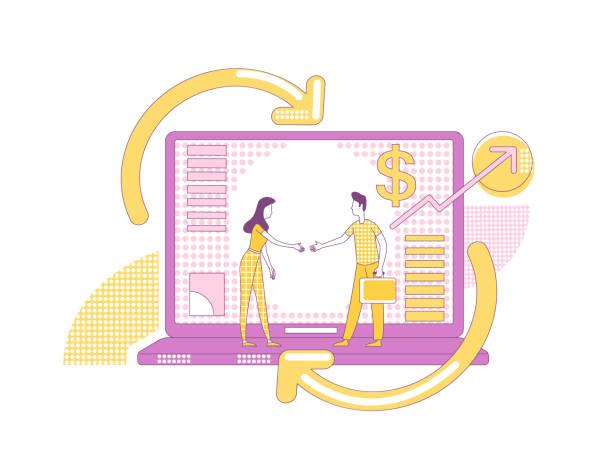 アフィリエイトマーケティング細線概念ベクトルイラスト。ビジネスパートナーウェブデザインのための2d漫画のキャラクター。インターネットプロモーション戦略、インフルエンサーのた� - affiliate点のイラスト素材/クリップアート素材/マンガ素材/アイコン素材