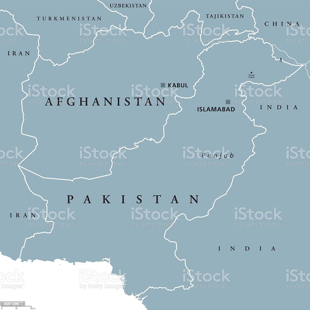Afghanistan And Pakistan Political Map Stock Vektor Art Und