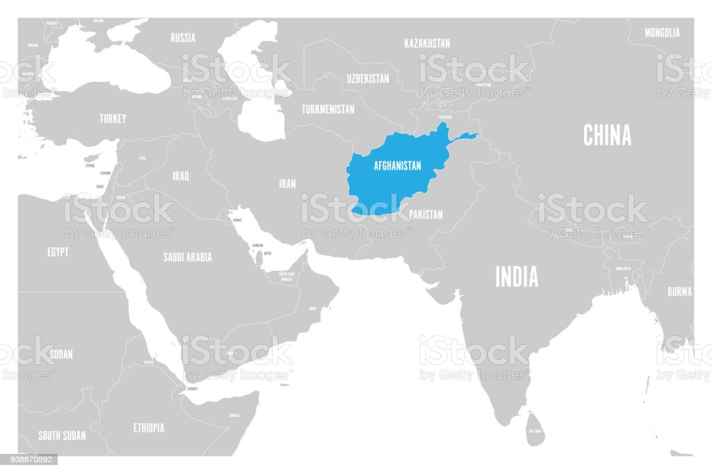 Map Of Asia And Middle East.Afghanistan Blue Marked In Political Map Of South Asia And Middle