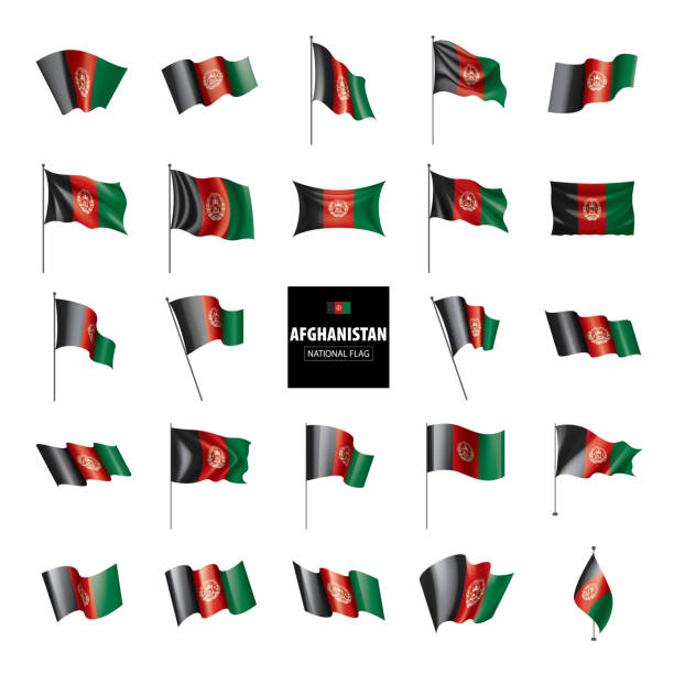 Afghanistan flag, vector illustration on a white background vector art illustration