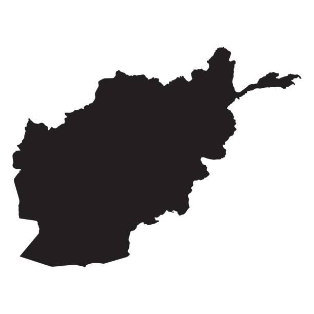 ilustraciones, imágenes clip art, dibujos animados e iconos de stock de mapa de afganistán esquema forma negro en ilustración vectorial blanca - mapa de oriente medio