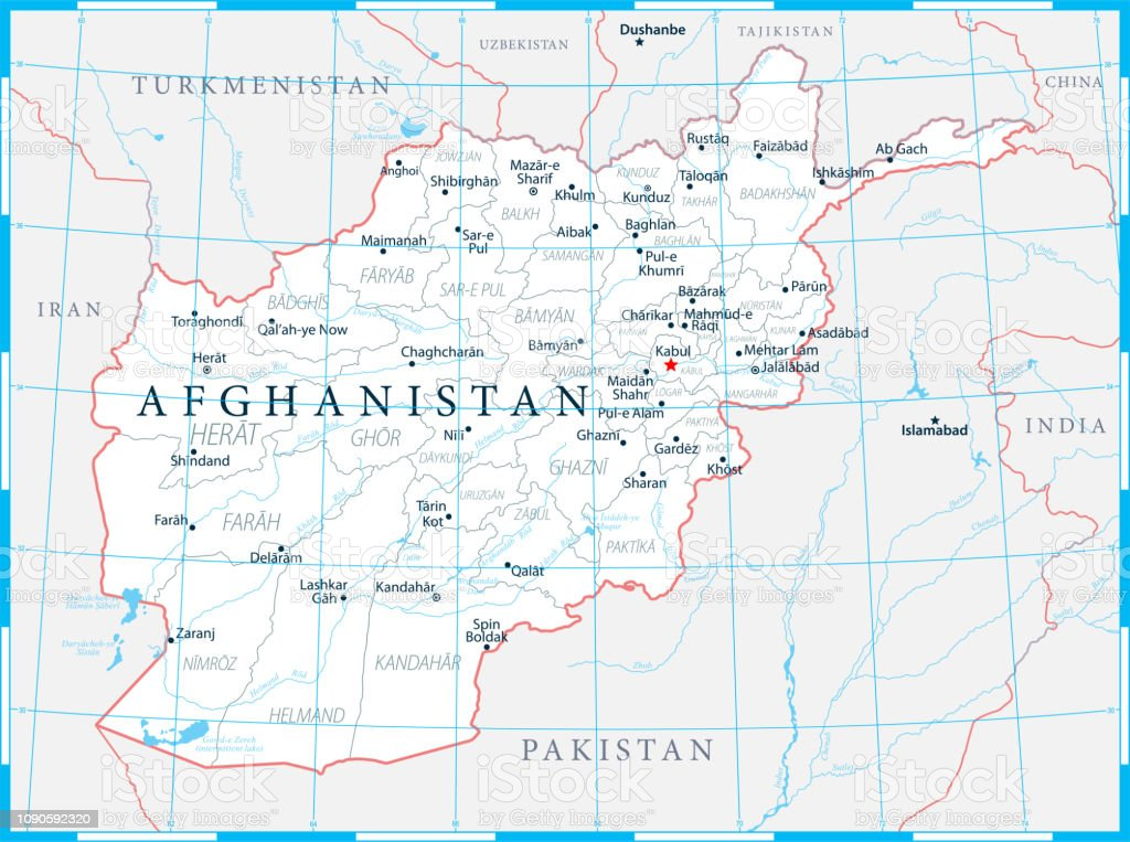 Afghanistan Map Political Capital Cities Rivers And Lakes ...