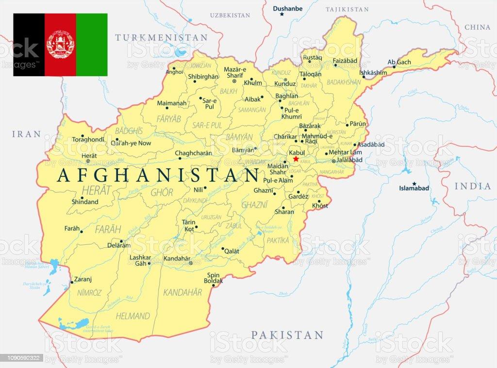 Afghanistankarte Politische Hauptstadt Städte Flüsse Und ...