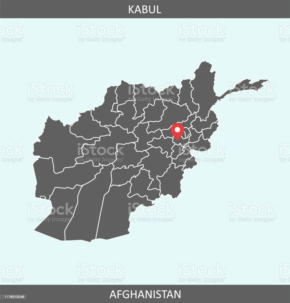Afghanistan Map Vector With Capital Location Kabul For ...