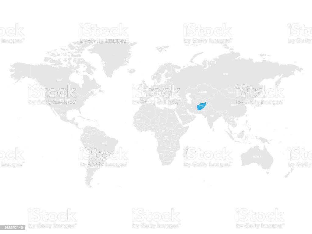 Afghanistan Marquée Par Le Bleu Dans La Carte Politique Du